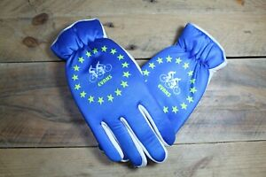 Vintage Evans Cycling Bicycle Cyclists Gloves Blue White Medium