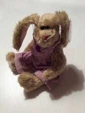 "Ty 1998 Attic Treasure Iris 8"" Brown Bunny Lavender Jumper Nwt"