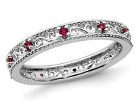 1/5 Carat (ctw) Created Ruby Band Stackable Ring Sterling Silver