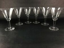 6 Antique Copper Etched Crystal Nudes Wine, Water, or Dessert Glasses