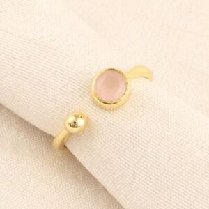 Natural Dainty Pink Chalcedony Yellow Gold Plated Casual Wear Adjustable Ring