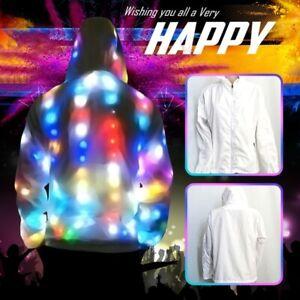 Unisex Led Colorful Glowing Jacket Luminous Clothes Couple Casual Jacket M-6XL