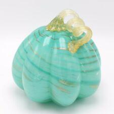 """New 7"""" Hand Blown Art Glass Teal Blue Pumpkin Sculpture Figurine Harvest Fall"""