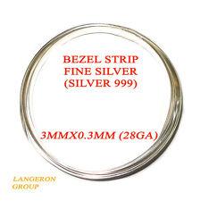 """999 fine silver bezel strip wire 3 mm x 28 Gauge - 4"""" long (10cm)"""