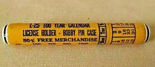 CALENDAR 100 YEAR VINTAGE PLASTIC L-25 YELLOW LICENSE HOLDER BOBBY PIN CASE MCM.