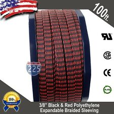 """100 FT 3/8"""" Black Red Expandable Wire Sleeving Sheathing Braided Loom Tubing US"""