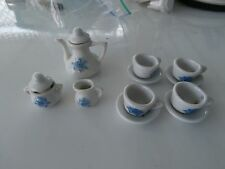 toy china tea set 13 pc. tea pot/lid, 4 cups with 4 saucers, sugar bowl/ creamer