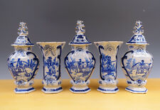 Antique Dutch Delft 5-Piece Garniture Hunting-Scene 19th C. Marked ''Kaststel''