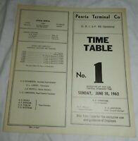 1962 Peoria Terminal Company Employee Time Table No. 1