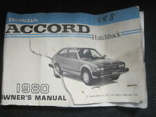 1980 Honda Accord Hatchback Owner's Manual GENUINE ORIGINAL