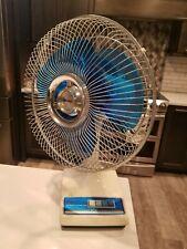 """Vintage LASKO Clear Blue Blade 12"""" 3-Speed OSCILLATING FAN Type 12-1 WORKS GREAT"""