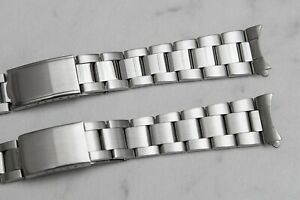 Oyster watch band With Curved End Links Polished or Brushed center 18mm or 20mm