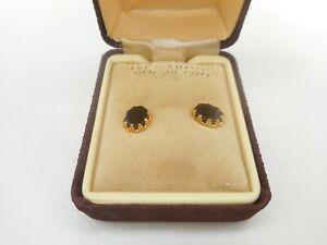 Vintage 14K GF GOLD FILLED ONYX PAIR OF EARRINGS EAR RINGS JEWELRY