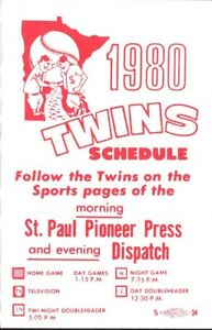 1980 MINNESOTA TWINS MAJOR LEAGUE BASEBALL SEASON POCKET SCHEDULE PIONEER PRESS