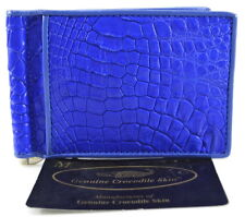 100% BELLY GENUINE CROCODILE LEATHER MONEY CLIP WALLET SHINY BLUE NEW