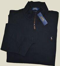 New 3XB 3XL BIG 3X POLO RALPH LAUREN Men Half zip Black sweatshirt Jumper cotton