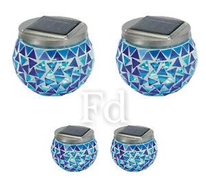 Solar Powered Glass Mosaic Lantern  Blue Lights Set Of 2