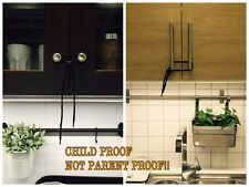 Cabinet Lock Strap Latch Child Baby Proof Safety Tool Furniture Safe Black 5 pcs