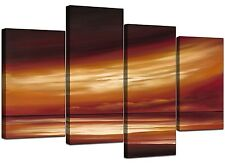 Large Brown Beige Abstract Canvas Wall Art Sea Pictures Prints XL 4147