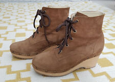 Opening Ceremony Joelle Mink Suede Clog Ankle Boots with wooden mid-heel, Size 4