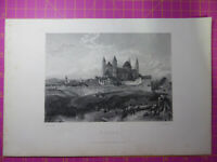 Antique engraving VIEW of WORMS CATHEDRAL GERMANY St Peters. Veduta art etching