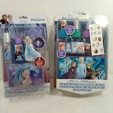 Disney Frozen 2 Cosmetic Set Nail Polish Tattoos Stickers Pouch SET of 2 - NEW