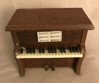Vintage Doll House Piano, Primitive, Solid Wood, Compartment w/Brass Hinges