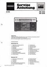 Service Manual-Instructions pour Grundig rr 1020, rr 1040