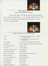 WINK MARTINDALE WHAT'S THIS SONG GAME SHOW ORIGINAL 1965 NBC TV PRESS MATERAIL