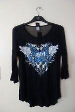 Harley-Davidson Women's Embellished Butterfly Away Long Sleeve Shirt Black Sz XL