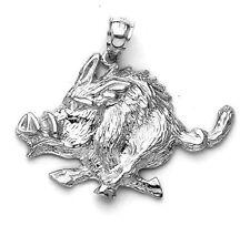 New .925 Sterling Silver Razorback Wild Hog Boar Pig Pendant Charm