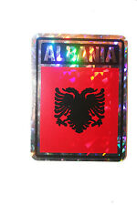 ALBANIA COUNTRY FLAG  METALLIC BUMPER STICKER DECAL .. 4 X 3 INCH