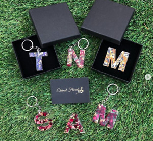 Personalised Letter Keyring Flower Rose Gold Foil Car Accessories Bag Charm A-Z
