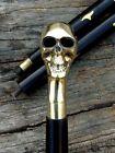 vintage Walking Cane Wooden Stick Collectible Solid Brass Men Skull Head Handle