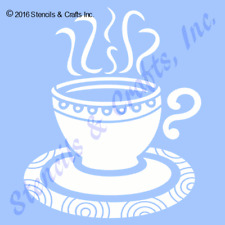 COFFEE CUP STENCIL TEA STENCILS TEMPLATE CUPS PATTERN PAINT ART CRAFT NEW #2