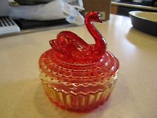 Vintage 1950-1960's Glass Powder Box Swan by Jeanette Glass, Amberina '