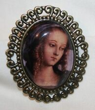 Lovely Scalloped Brasstone Deep Tones Glass Renaissance Lady Cameo Brooch Pin