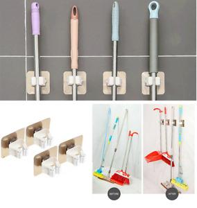 4X Self Adhesive Mop Clip Hooks Wall Mounted Broom Hanger Holder Storage Rack UK