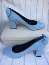SHOES OF PREY Blue-Gray Suede Croc Embossed Wingtip Block Heel Pumps NIB US 9W
