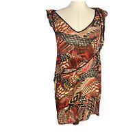 Cue Womens Size 12 Flared Dress Lettuce Hem Strappy Straps