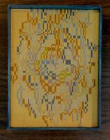 "Mid Century Abstract Yarn Crewel Embroidered Wall Art Wood Box Frame 12"" X 16"""
