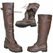 New Womens Lace Up Knee High Boots Accented Ankle Chain Combat Zipper Brown