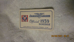 VINTAGE 1939 AMERICAN LEAGUE OFFICIAL SCHEDULE BOOK BASEBALL CENTENNIAL