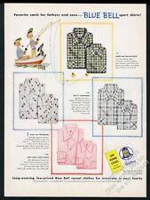1955 Mary Blair father son dog fishing art Blue Bell shirt vintage print ad