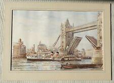 Ron Briggs original signed water colour painting Tower Bridge Waverley Cruiser