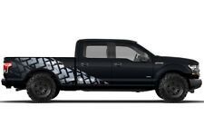 Vinyl Decal Wrap Kit TIRE TRACKS for Ford F-150 2015-17 SILVER SuperCrew 6.5 Bed