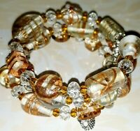 Memory Wire Bracelet with Clear & Gold Glass Beads  Charms on ends FREE SHIPPING