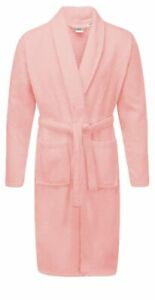 Baby Pink Luxury 100% Cotton Bath Robe Terry Towel Women Soft Dressing Gown