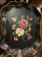 Nashco Toile Tole' Toleware Floral Black & Gold Serving Tray Signed Anatole