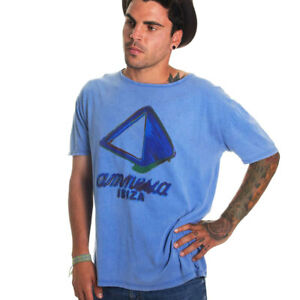 Amnesia Ibiza Mens T-Shirt Blue Logo Watercolour Paint Effect Small OFFICIAL Top